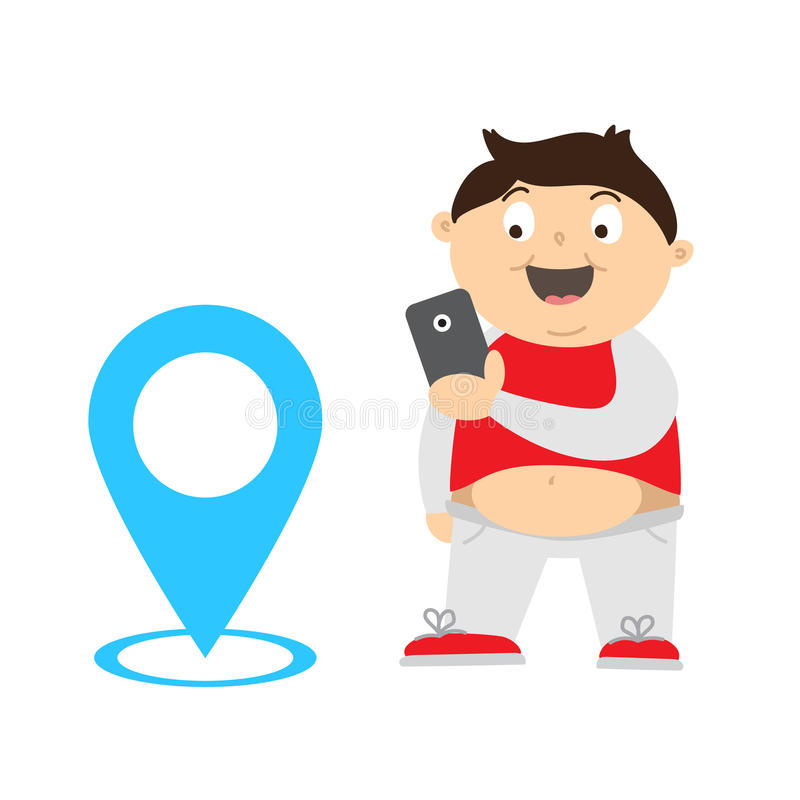 Fat boy finding and catch monsters with gps using smartphone. Cartoon illustration of an overweight kid playing video game on his smartphone for lose weight royalty free illustration