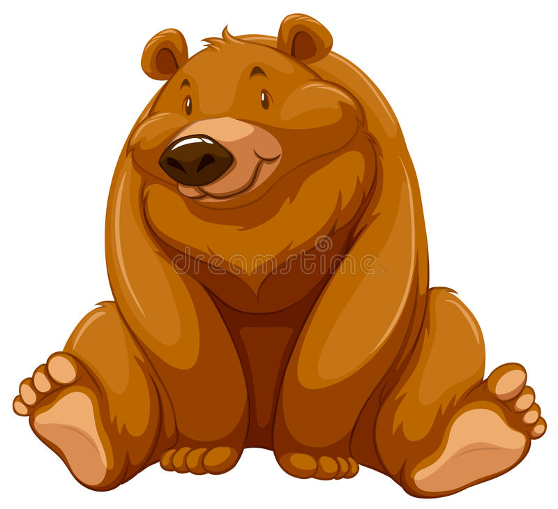 Fat brown bear vector illustration