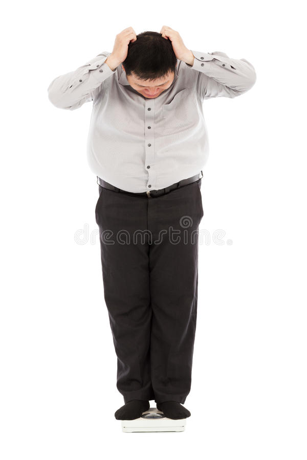 Fat business man too unbelievable his weight to hold head. In studio royalty free stock photos
