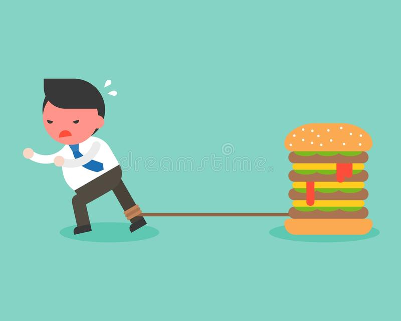 Fat Businessman chained with giant hamburger and try to runaway vector illustration