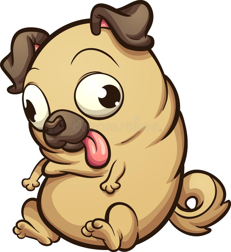 Free Fat Cartoon Pug Looking Down Stock Photo - 107835230