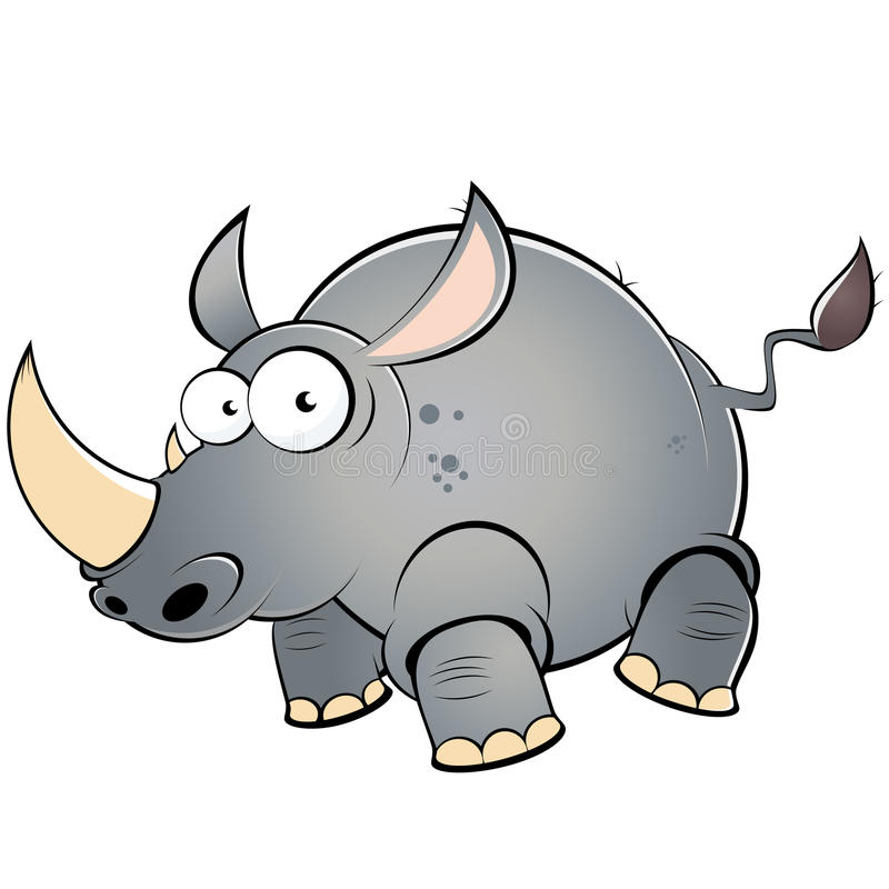 Fat cartoon rhinoceros. Illustration of a fat cartoon rhinoceros isolated against a white background stock illustration