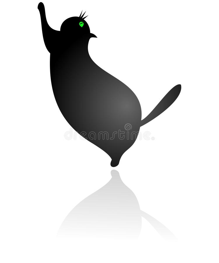 Download Fat cat stock vector. Image of drawing, black, modern - 14775152