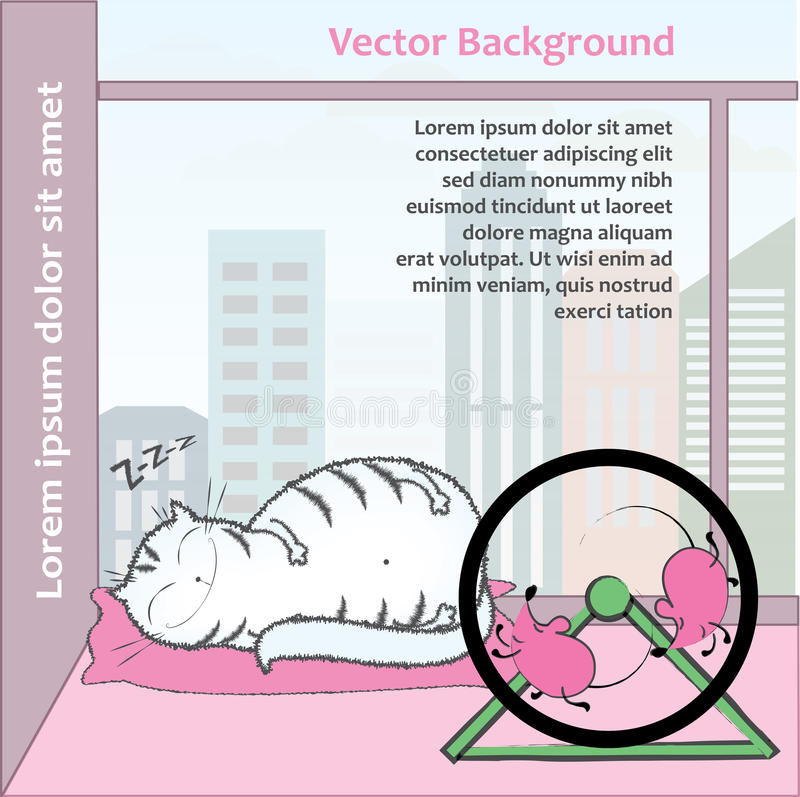Fat cat sleeps, turn the wheel mouse. On the background of the city stock illustration