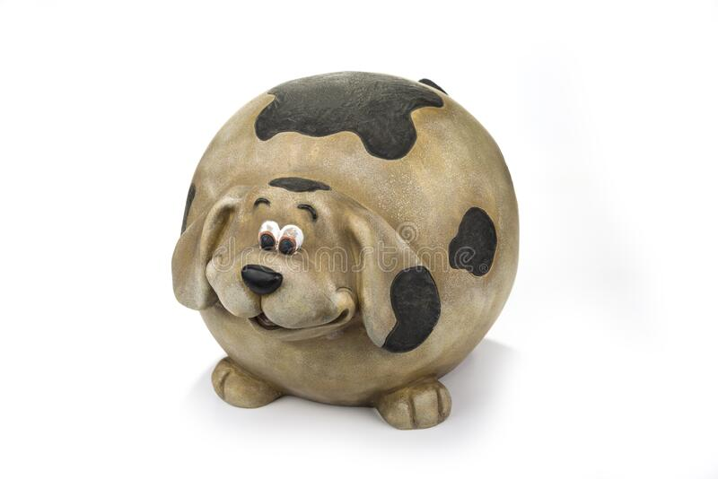 Fat decoration ceramic dog on a white.  royalty free stock images