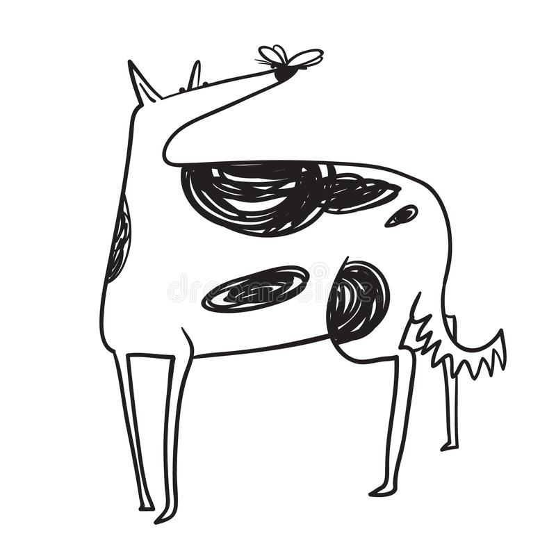 Fat dog with butterfly. Cute borzoi pet. Vector illustration. In doodle sketchy line art style vector illustration