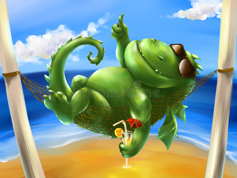 Fat dragon on the sea shore. Fat dragon relaxing in a hammock near the sea shore. He has nothing but sunglasses and cocktail with decorative umbrella and