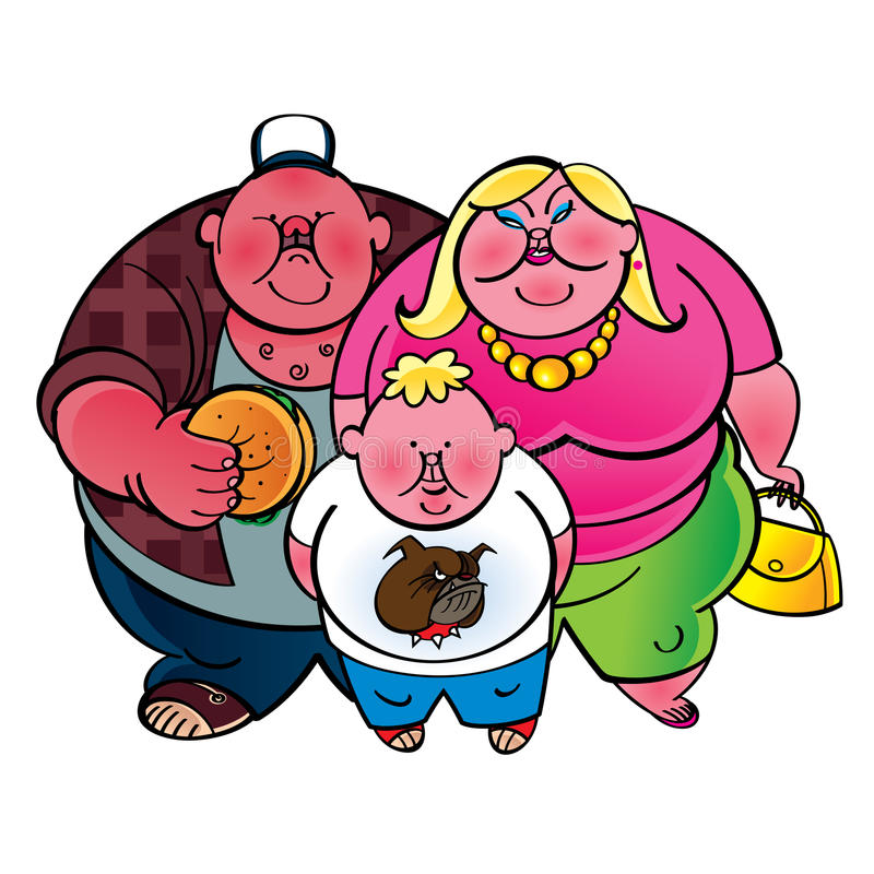 Fat family stock illustration