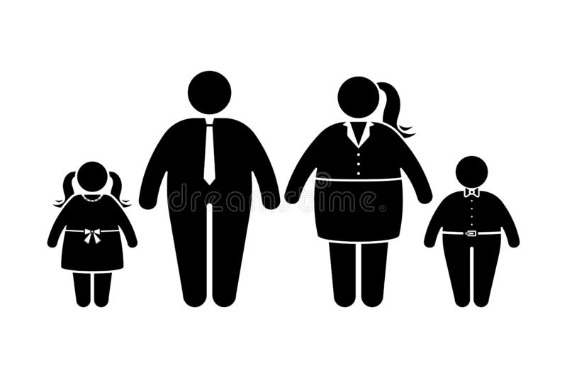 Fat family stick figure vector icon set. Obese people, children couple black and white flat style pictogram vector illustration
