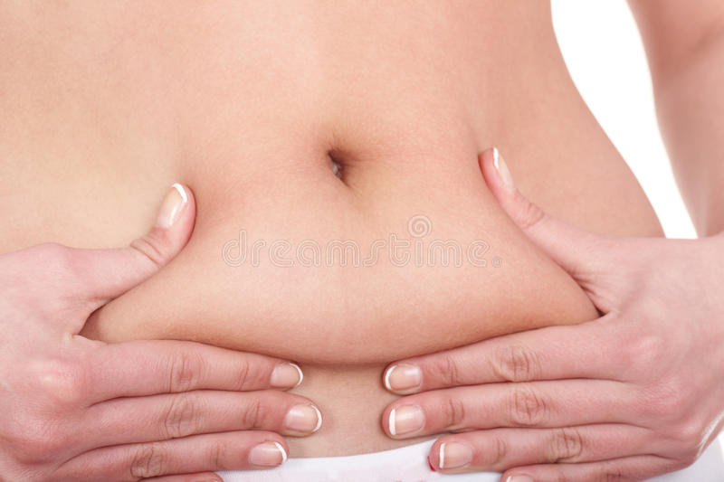 Fat female body part. Isolated royalty free stock photos