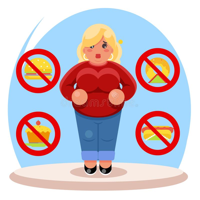 Fat female diet character health refusal junk food flat cartoon design vector illustration vector illustration