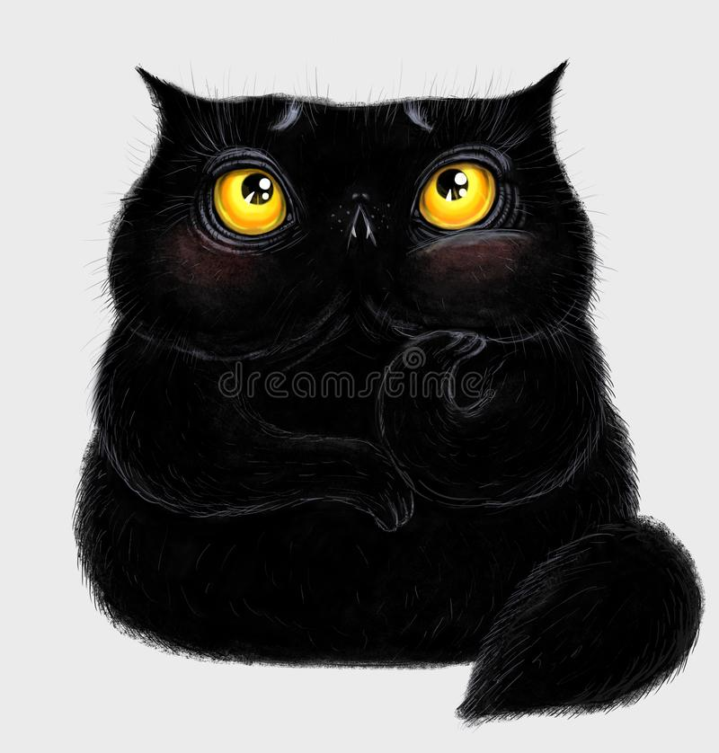 Fat fluffy black cat. With big yellow eyes. He than the amused or perplexed royalty free illustration