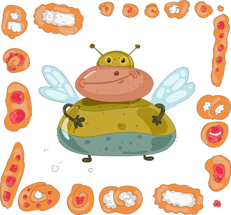 Free Fat Fly And Set Of Pies And Buns Stock Image - 24001971