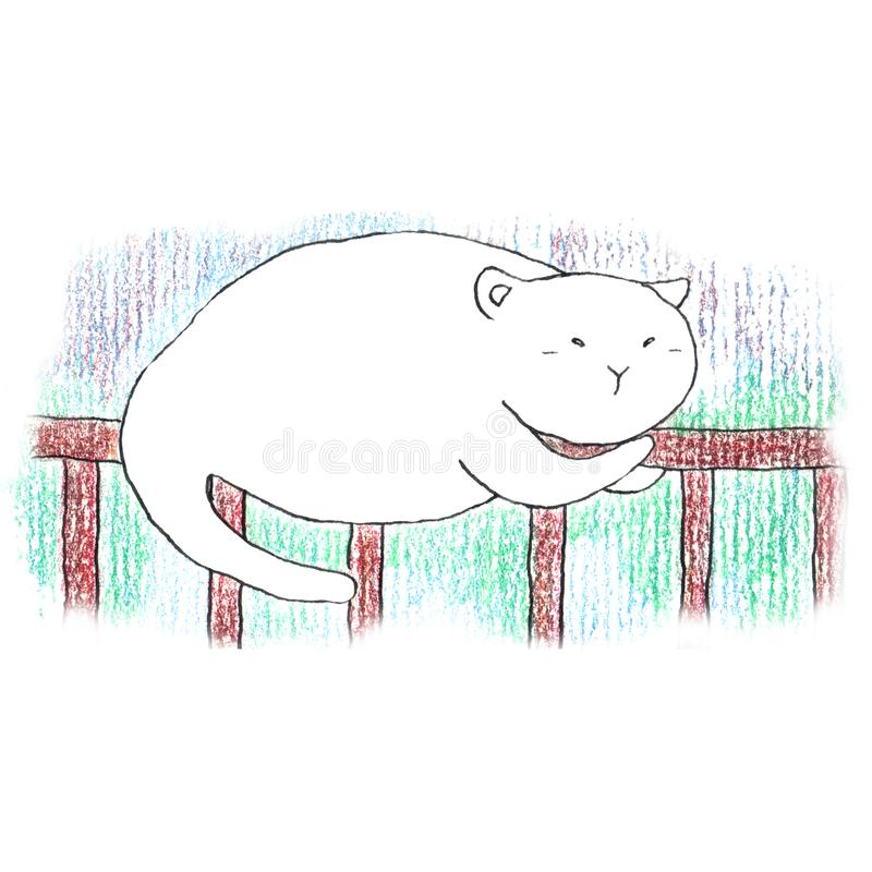 Fat funny white cat sleeping on the brown fence vector illustration