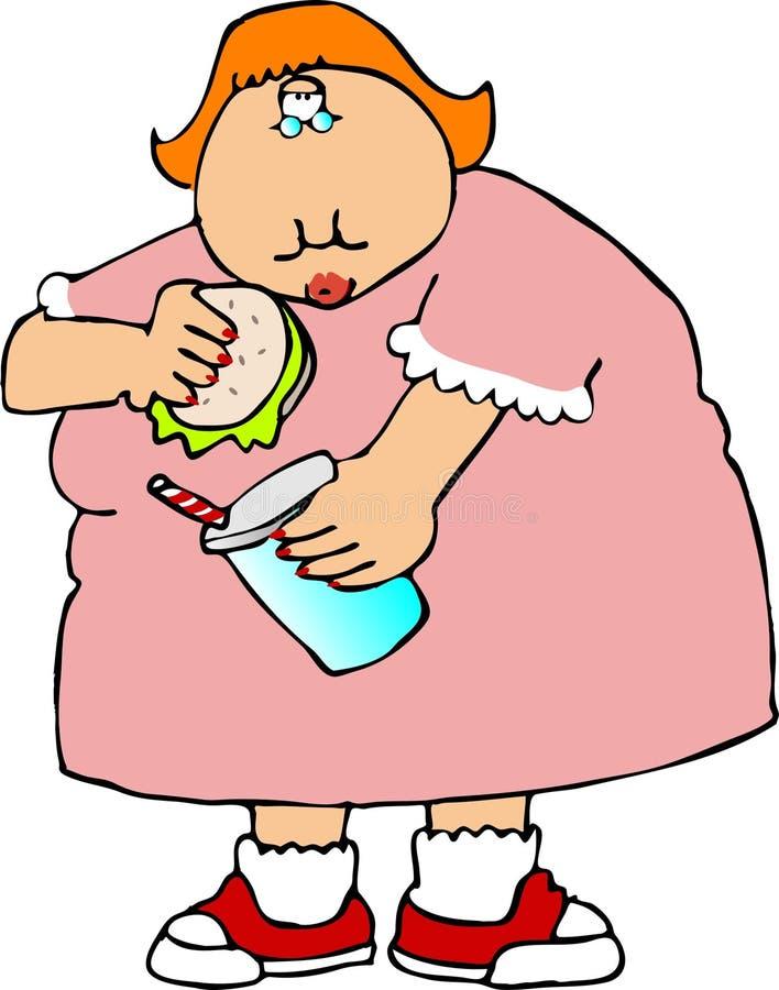 Fat girl royalty free illustration