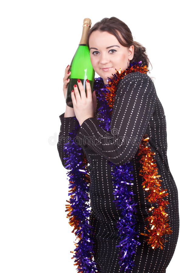 Download Fat girl with champagne stock image. Image of green, bubbles - 20982525