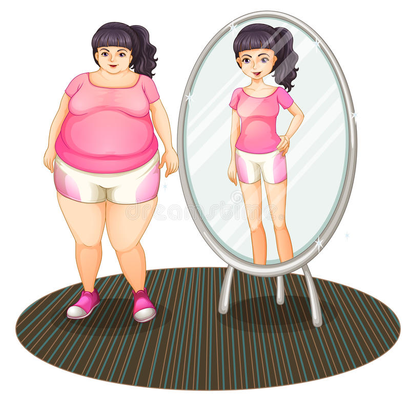 A fat girl and her slim version in the mirror stock illustration