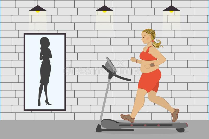 fat girl on a treadmill and silhouette of a thin woman in a mirr stock illustration