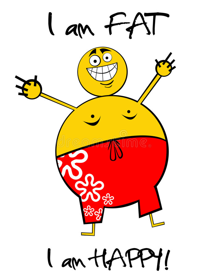 Fat Guy. Happy cartooned fat man half naked with swimming shorts vector illustration