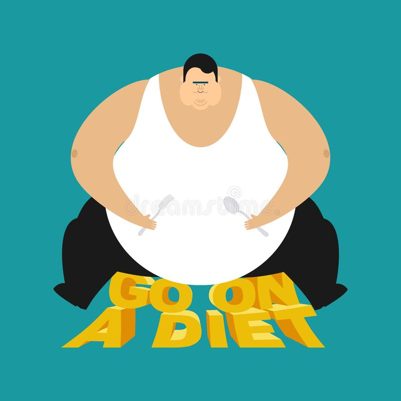 Fat guy go on a diet. Glutton Thick man. vector illustrati royalty free illustration