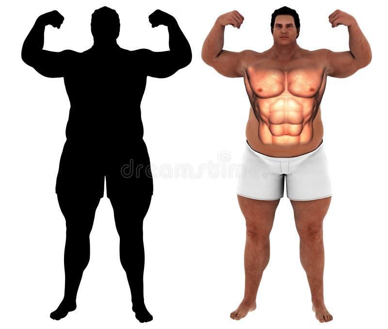 Fat heavy man body transform motivation royalty free illustration