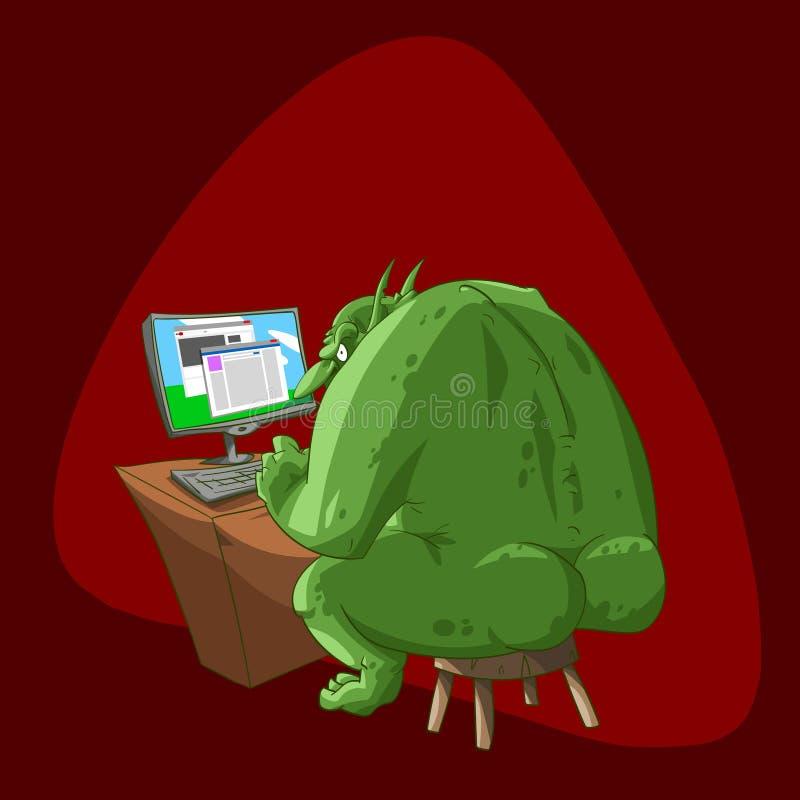 Fat internet troll vector illustration
