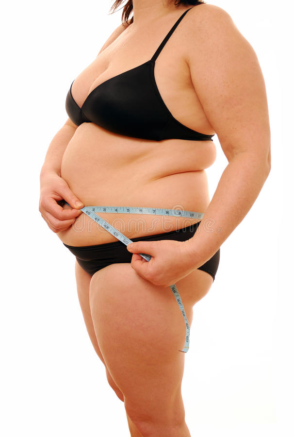 Fat Lady Measuring Waist Royalty Free Stock Images