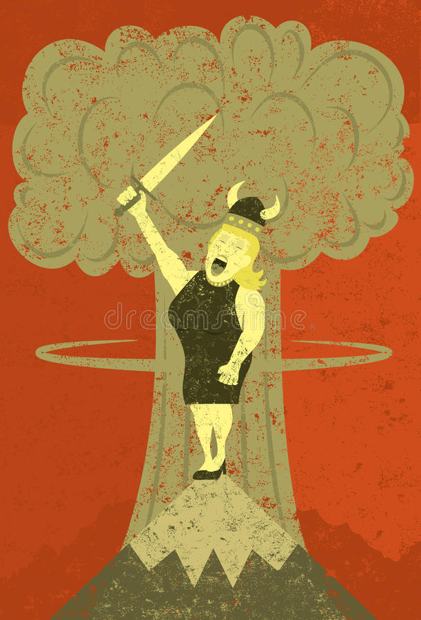 Fat Lady singing at the apocalypse stock illustration