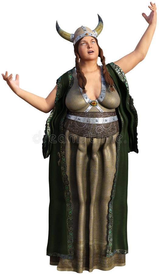 Fat Lady Sings, Viking, Isolated. The fat lady sings in the opera. The woman illustration is wearing a Viking outfit and a horn helmet. Isolated on white. PNG royalty free illustration