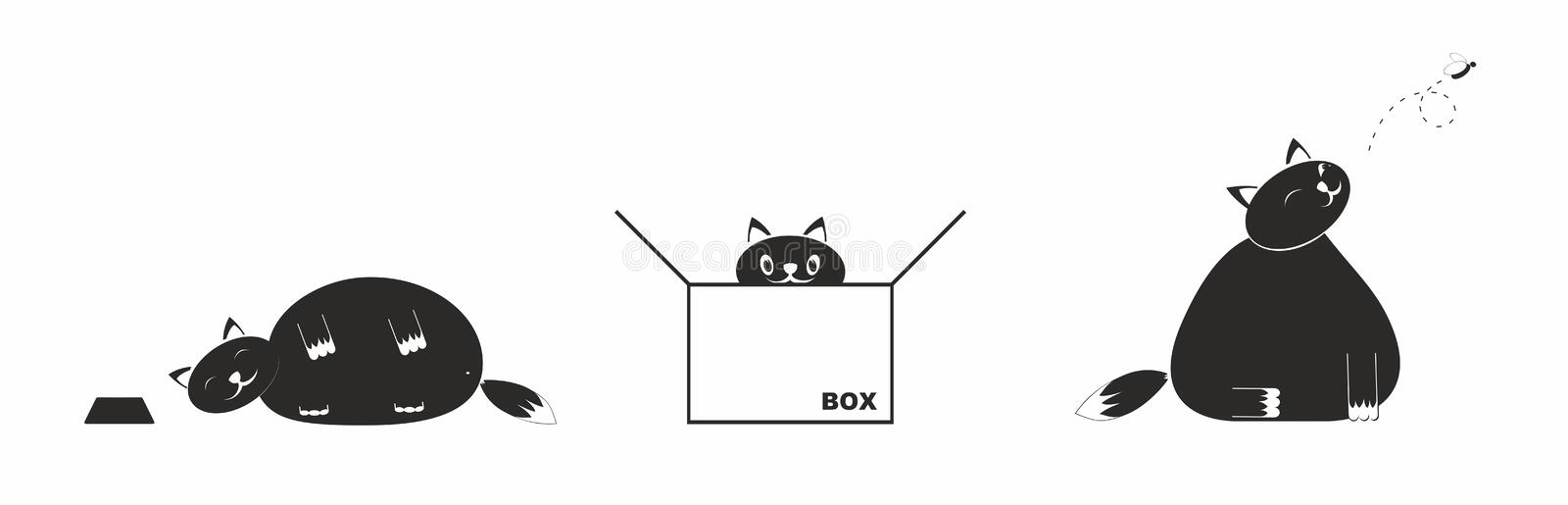 Fat lazy cat. Cute and funny fat cat stock illustration