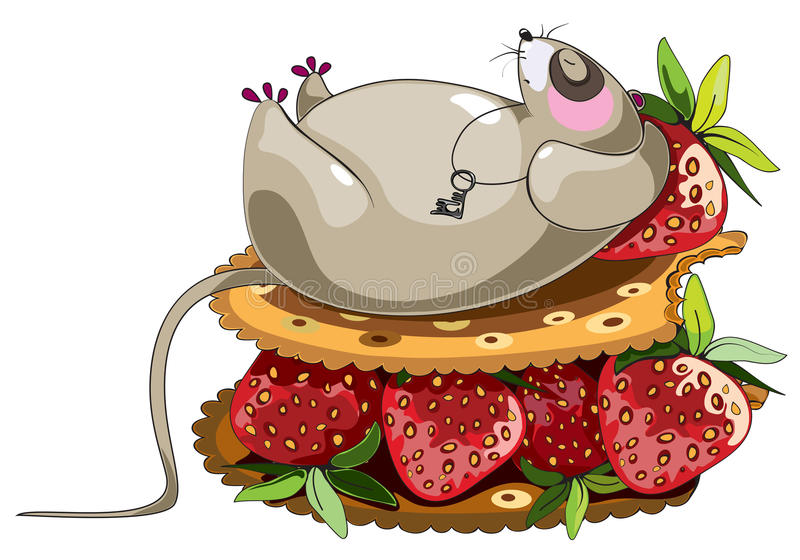 Fat lazy mouse. Lazy sleeping mouse cartoon character lying at cracker sandich with strawberry stock illustration
