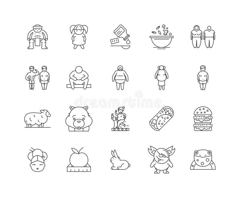 Fat line icons, signs, vector set, outline illustration concept stock illustration