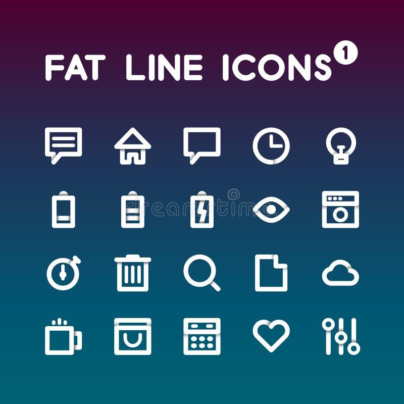Free Fat Line Icons Set 1 Stock Photo - 50253910