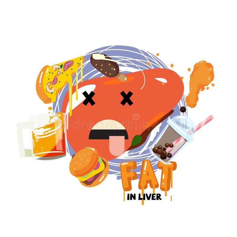 Fat in liver concept - vector. Illustration stock illustration