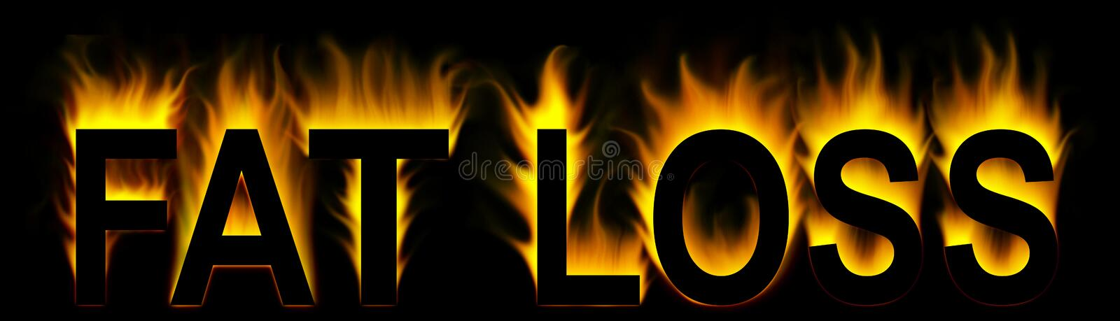 Fat loss. Word with abstract fire background vector illustration