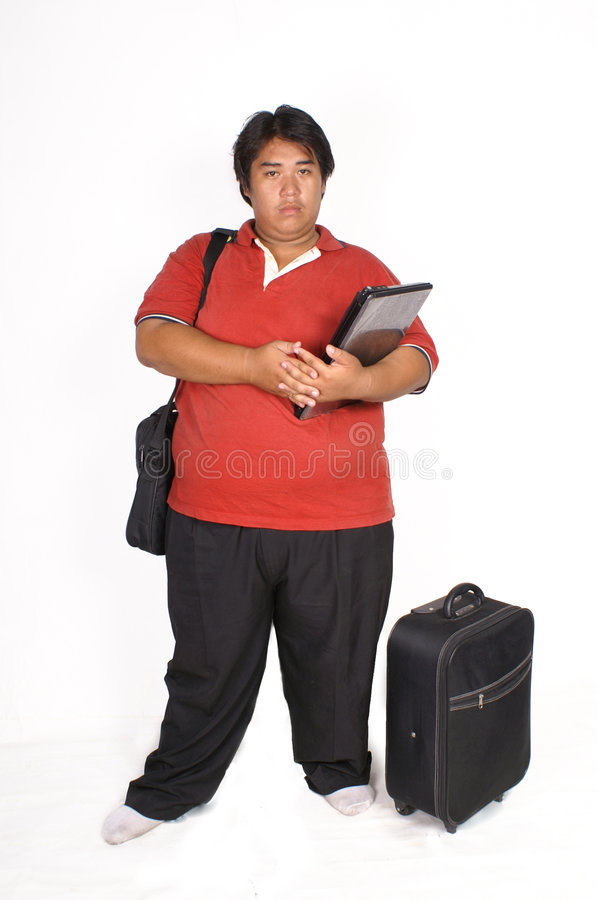 Download Fat man stock image. Image of yellow, shirt, over, notebook - 8219201