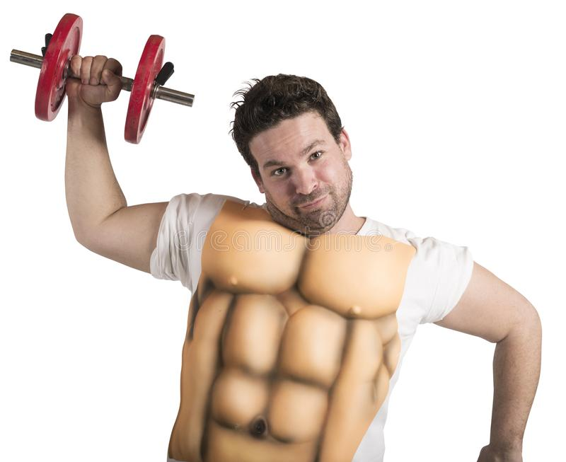 Fat man with abs. Ironic fat man does gym with abs stock image