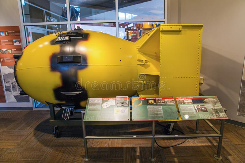 Fat Man atomic bomb. Fat Man, atomic bomb replica at the Bradbury Science Museum, Los Alamos, New Mexico royalty free stock images
