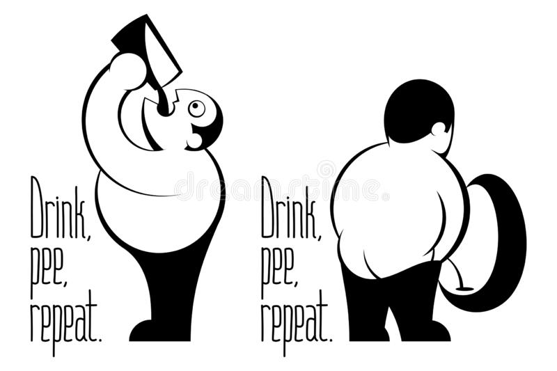 Drink Beer Pee Repeat Retro Inked Drawing Cartoon Man Emblem. Fat man with belly drinking beer from glass, pissing in urinal. Caption from lettering motto Drink vector illustration