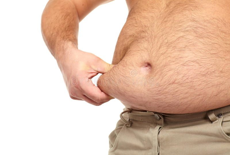 Fat man with a big belly. stock images
