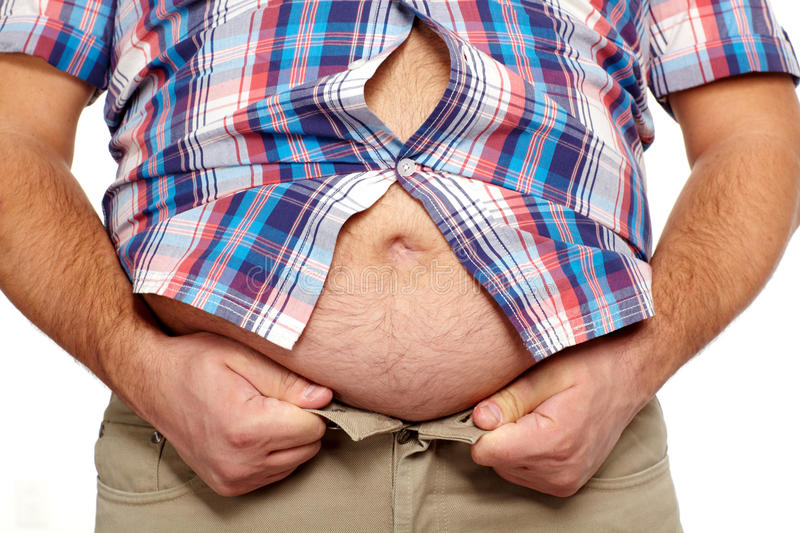 Fat man with a big belly. royalty free stock photography