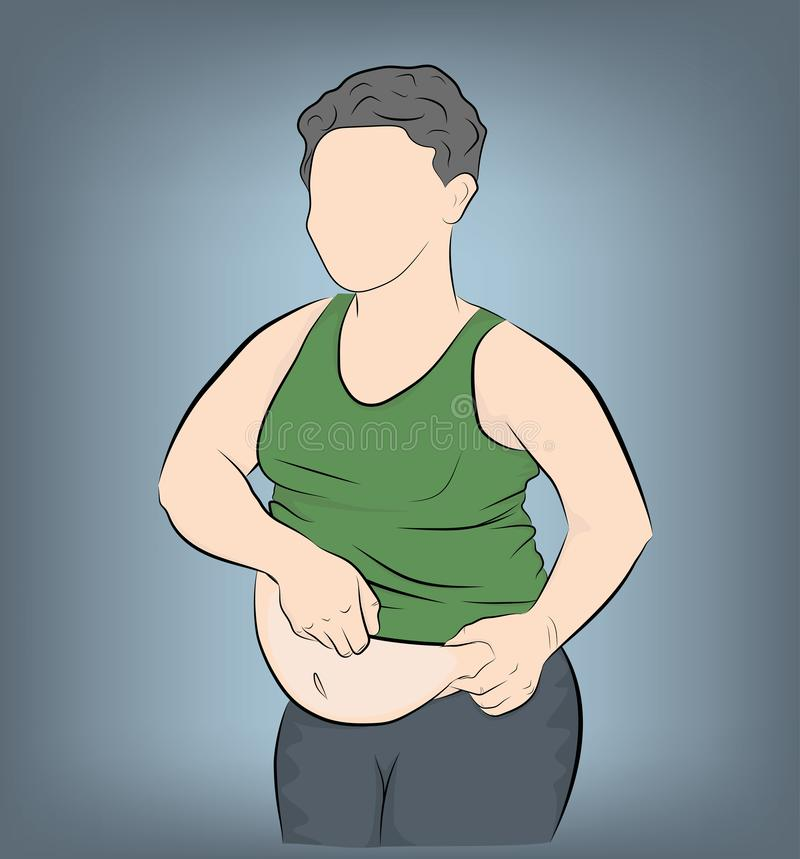 Fat man with a big belly. obesity. weight loss concept. vector illustration. royalty free illustration