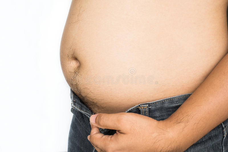 Fat man with big belly on white background. Fat man with big belly on the white background royalty free stock image