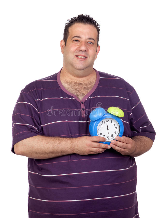 Download Fat Man With A Blue Alarm Clock Stock Photo - Image: 25249140