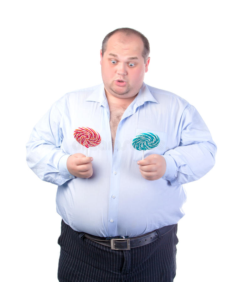 Download Fat Man In A Blue Shirt, With Lollipop Stock Image - Image: 27086659