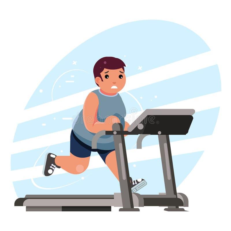 Fat man cardio running treadmill simulator fitness gym run exercise training lose weight concept flat design vector. Fat man cardio running treadmill simulator stock illustration