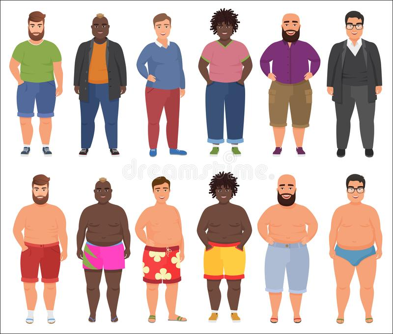 Fat man in casual and summer underwear clothes set. Plus size male people. Fat man in casual and summer underwear clothes set. Plus size male people royalty free illustration
