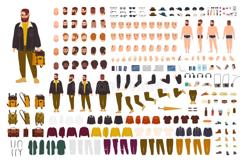 Fat man creation set or DIY kit. Collection of flat cartoon character body parts, face expressions, trendy hipster stock illustration