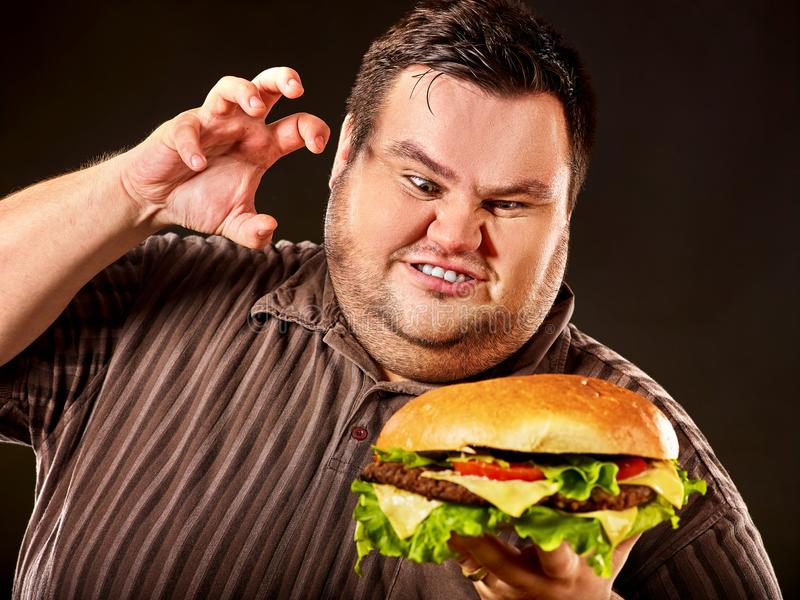 Fat man eating fast food hamberger. Breakfast for overweight person. stock image