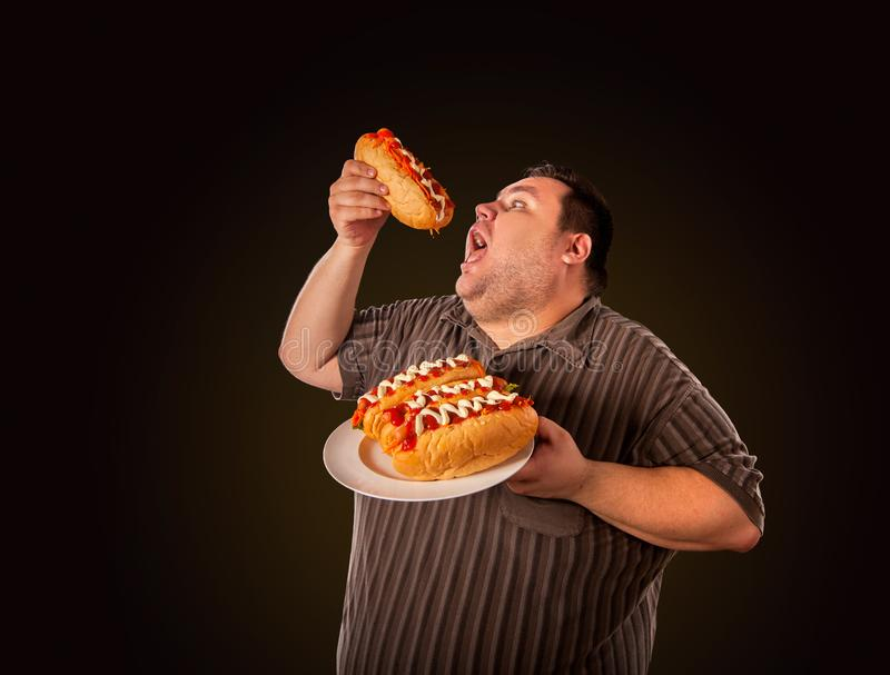 Fat man eating fast food hot dog. Breakfast for overweight person. Fat man eating fast food hot dog on plate. Breakfast for overweight person. Junk meal leads royalty free stock image